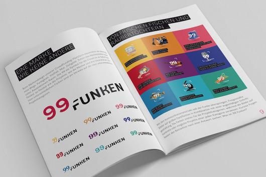 Ansicht der Broschuere der Marke von 99 Funken. Das Markendesign und die Markenentwicklung wird erklärt.