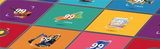 Ansicht der Visitenkarten der verschiedener Kategorien von 99 Funken. Markendesign von CROMATICS.