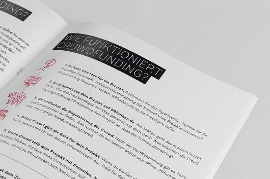 Kundenbroschüre und Mitarbeiterbroschüre, wie funktioniert Crowdfunding. Das Ganze im passenden Corporate Design von 99 Funken.