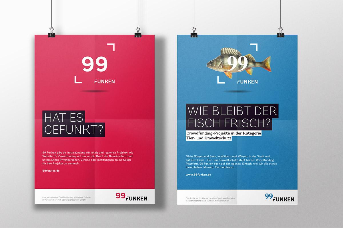 Das Imageposter in den Corporate Design Farben von 99 Funken und das Poster zur Kategorie Tier- und Umweltschutz.