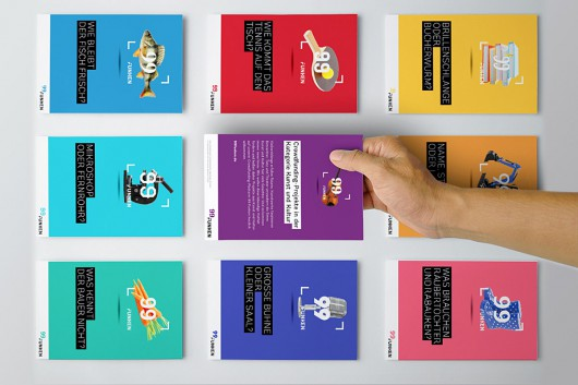 Die Postkarten der neun Kategorien von 99 Funken. Bildung, Kunst und Kultur, Landwirtschaft, Soziales, Sport, Stadt- und Regionalentwicklung, Tier- und Umweltschutz, Veranstaltungen, Wissenschaft.
