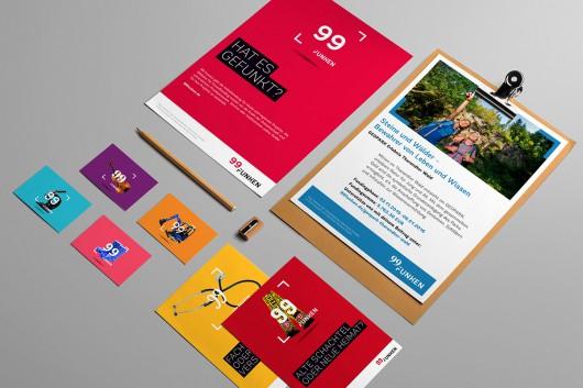 eine Uebersicht von 99 Funken Projektkommunikationsmitteln und Imagekommunikationsmitteln. Imageposter, Projektposter, Projektpostkarten und Visitenkarten zu den Kategorien von 99 Funken.