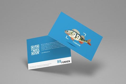 Die Visitenkarte einer Kategorie von 99 Funken im passenden Corporate Design. Die Marke wurde identitätsbezogen von CROMATICS entwickelt.