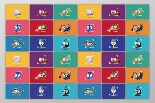 Die Vielfalt der Kategorien zu sehen auf den Visitenkarten von 99 Funken. Das Corporate Design, Markendesign und Markenentwicklung stammen von CROMATICS.
