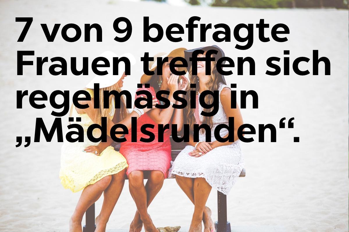 7 von 9 befragte Frauen treffen sich regelmaessig in Maedelsrunden.