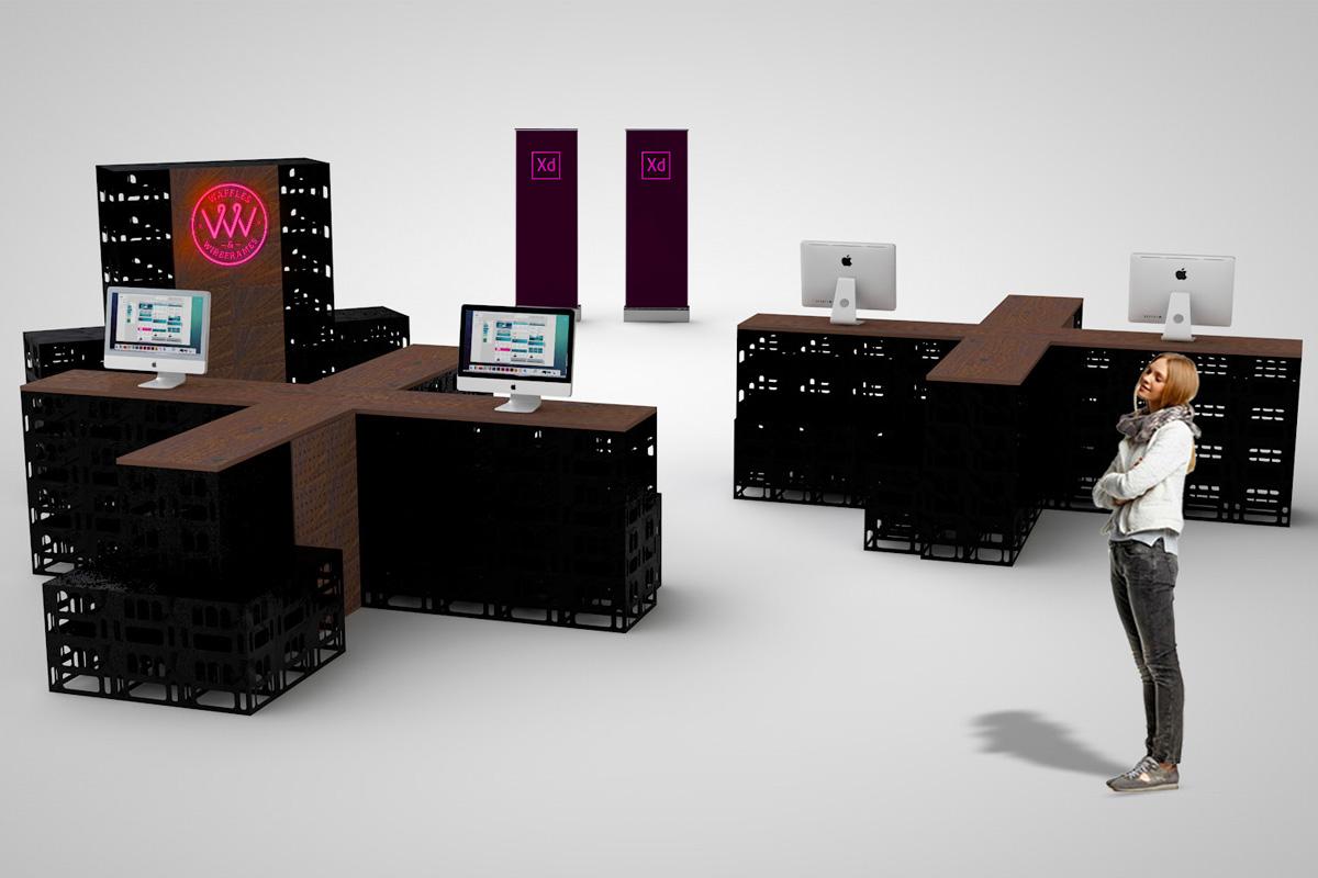 Mit einem modularen Stand haben wir für Adobe eine Möglichkeit geschaffen variabel auf örtliche Gegebenheiten zur Präsentation einzugehen.