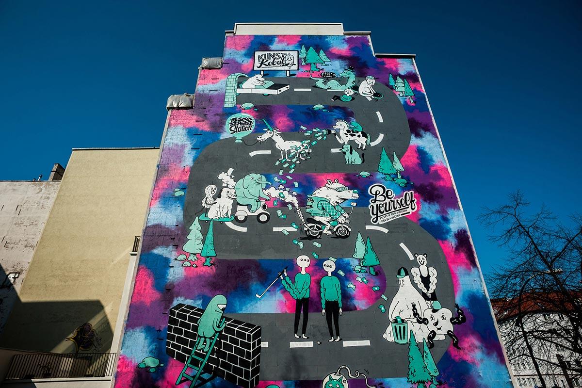 Ansicht auf die Brandwand nach der Gestaltung durch im Rahmen des Clash Wall Berlin Events mit Converse.
