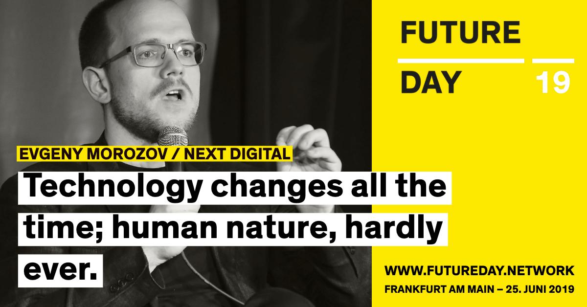 Evgeny Morozov ist beim Future Day 2019 dabei.