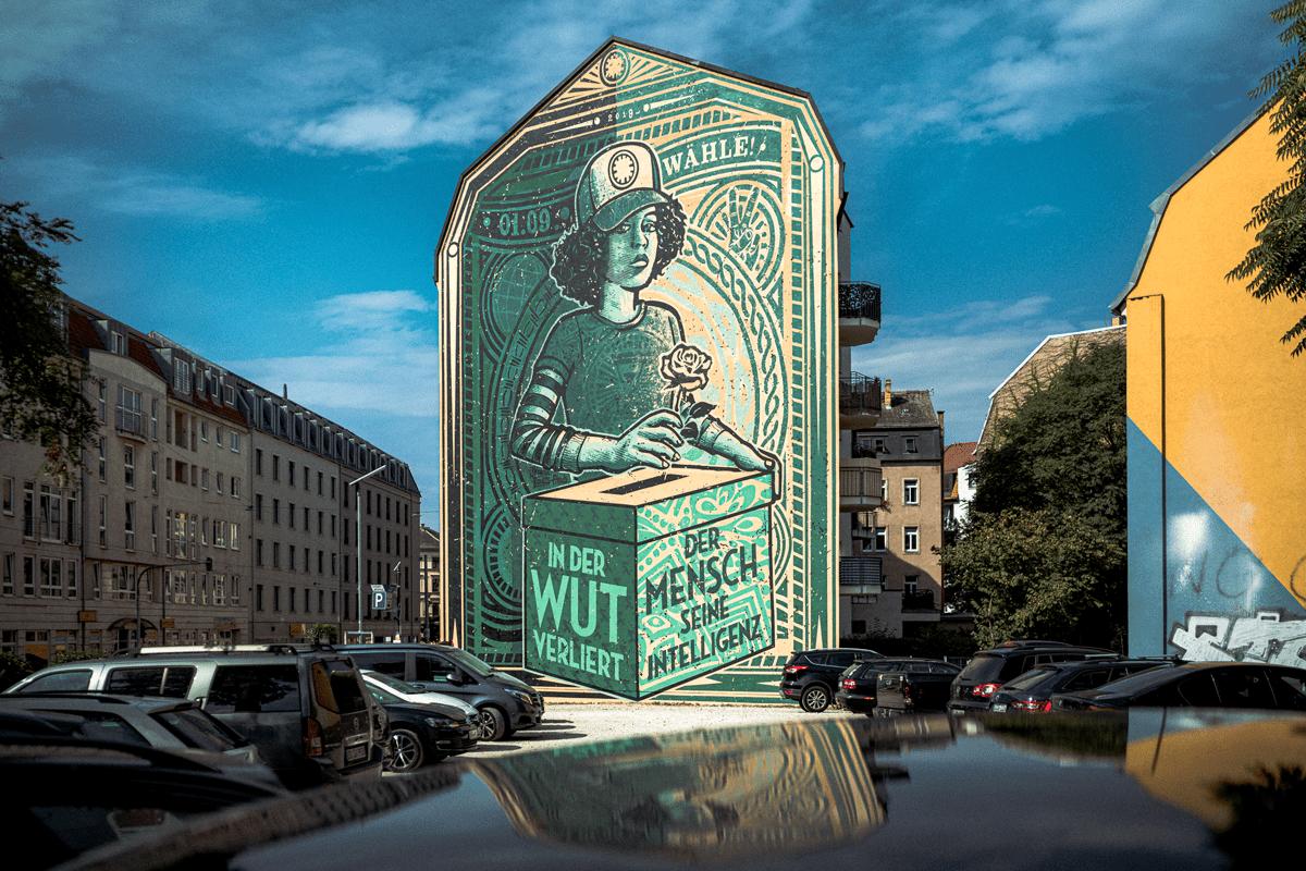 Die Wandmalerei ist in Dresden ein markantes Zeichen.