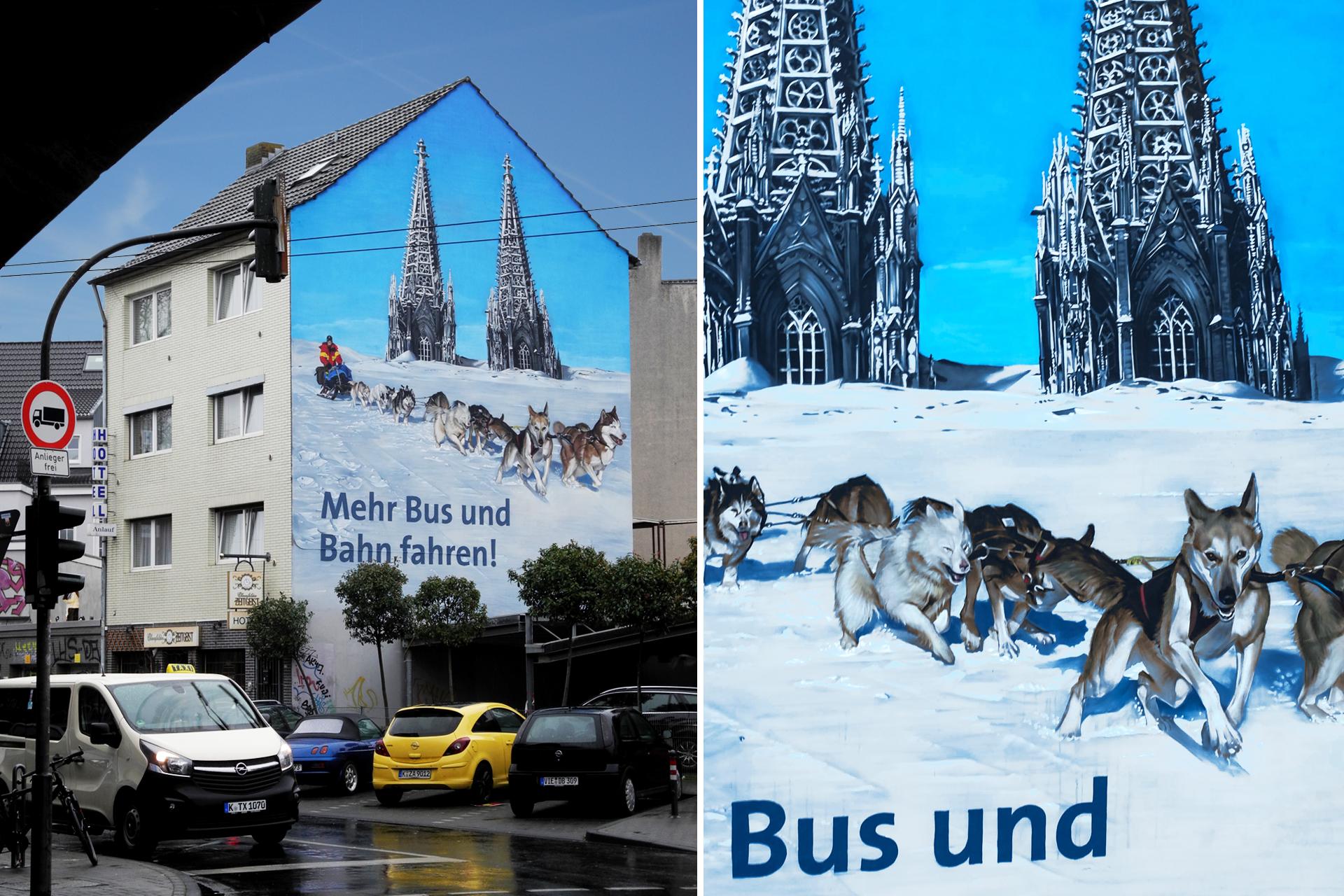 Mehr Bus und Bahn fahren sagt das Mural in der Kölner Innenstadt. Verantwortlich dafür: CROMATICS