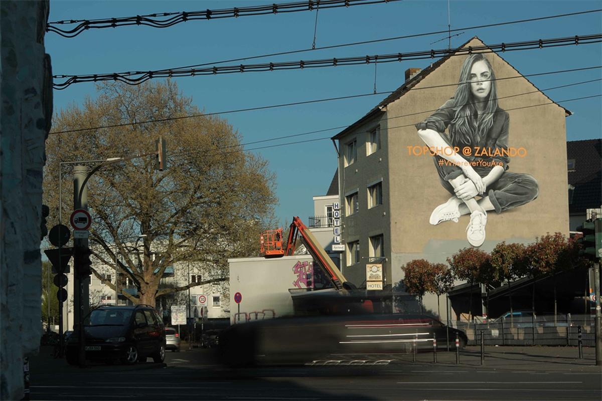 Ein großes Graffiti war für ein Monat in Köln zu sehen. Für Zalando bespielte CROMATICS diese Wand.