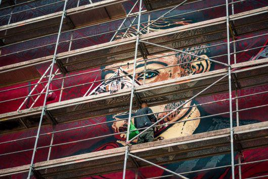 Die Künstler malten mehrere Tage.