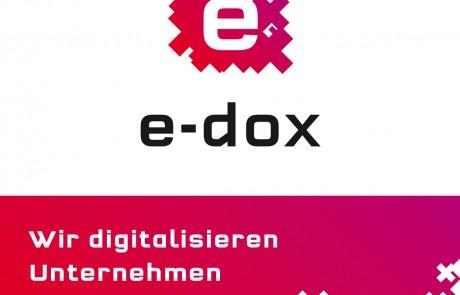 Das neue Logo und der neue Claim für e-dox. Markenentwicklung von CROMATICS.