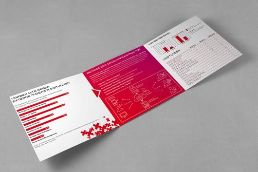 Das neue Markendesign von CROMATICS für e-dox. Auch im Flyer spiegelt er sich wieder.
