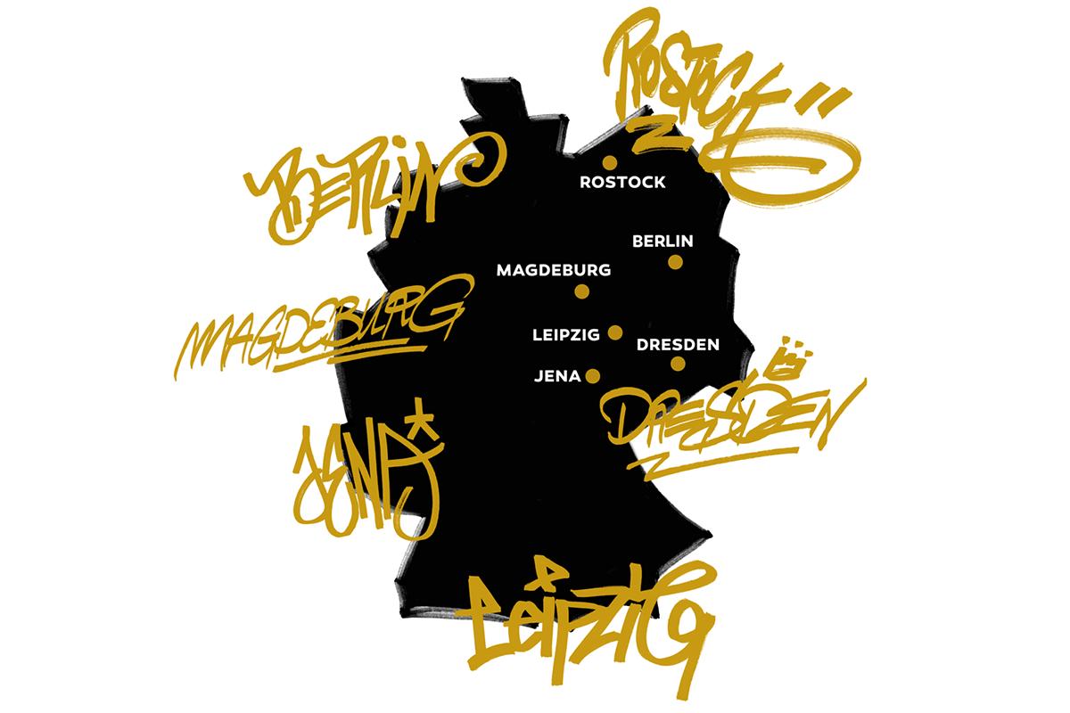 Die PAINT CLUB BATTLE LEAGUE findet in fünf Städten statt.