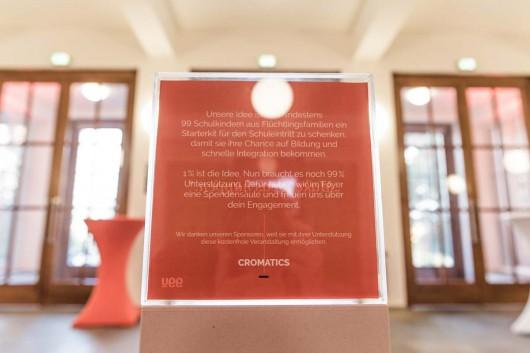 Auf der 99U Local Dresden werden Spenden für Flüchtlinge gesammelt. Refugees Welcome. Für CROMATICS eine ganz klare Sache.