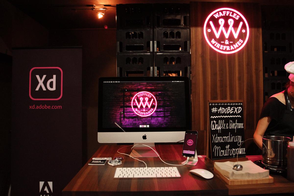 Am Adobe Waffles und Wireframes Stand kann man Adobe XD direkt antesten.