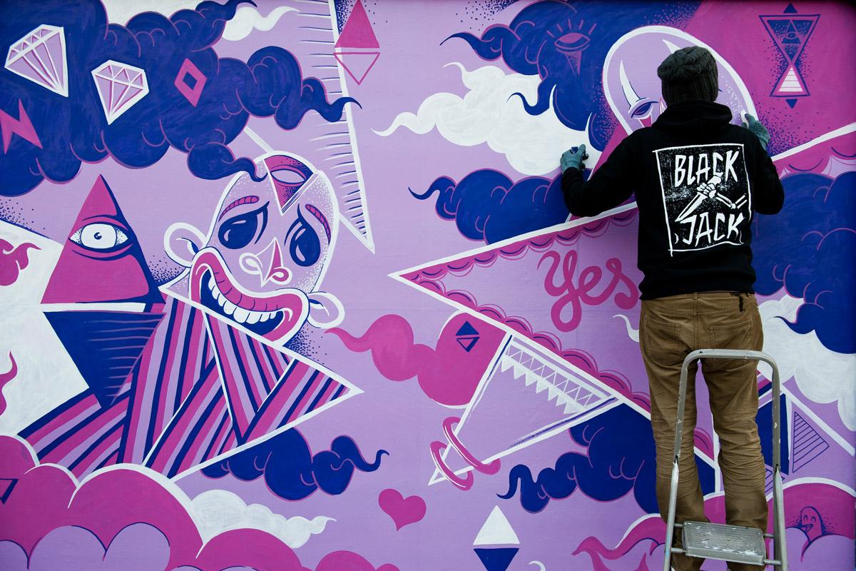 Bei der Just Add Colour Kampagne von Converse färbten wir Berlin mit verschiedenen Aktionen bunt ein. Graffiti gehörte ganz klar mit dazu.